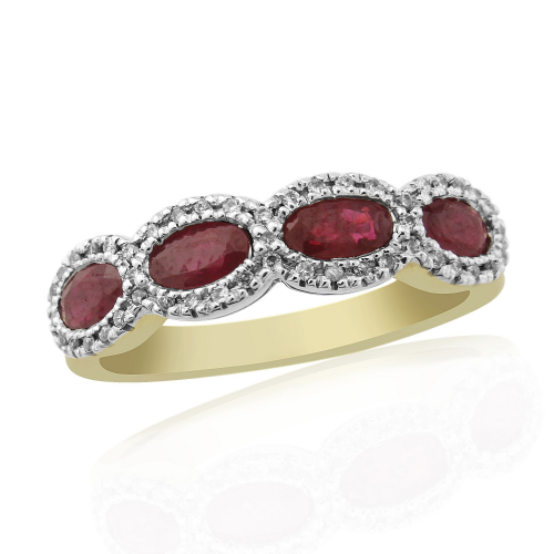 Oval Shaped Yellow Gold Ruby And Diamond Eternity Ring